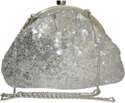 Hi Look Women Silver Canvas Sling Bag