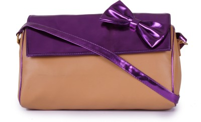 MGG Girls, Women Tan, Purple PU Sling Bag