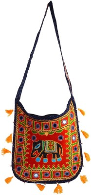 Rajkruti Women, Girls Casual, Festive Red, Multicolor Cotton Sling Bag