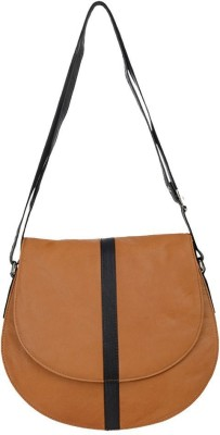 HIDEKRAFT Girls, Women Tan Genuine Leather Sling Bag