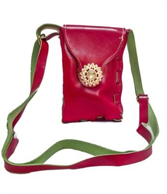 Bagzmania Women, Girls Evening/Party, Festive, Formal, Casual Maroon, Green Leatherette Sling Bag