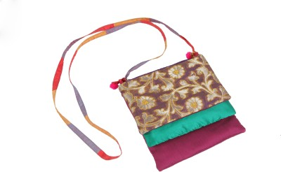 Bagkrafts Girls Purple, Green, Purple Silk Sling Bag