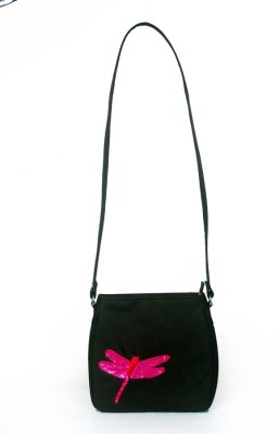 Allmine Girls Casual Black Polyester Sling Bag