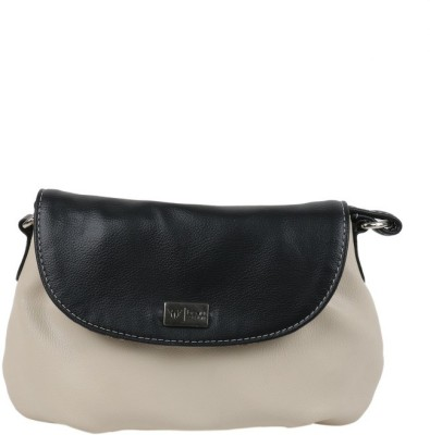 Beau Design Women White, Black PU Sling Bag