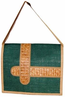 Saffron Craft Men, Women Casual, Formal Green, Beige Jute Sling Bag