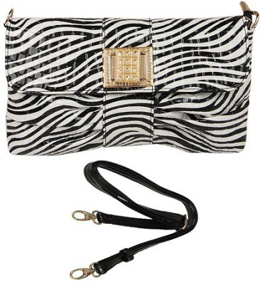 Naitik Products Women Casual Black, White Leatherette Sling Bag