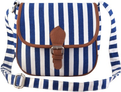 Lychee Bags Girls Casual Blue Canvas Sling Bag