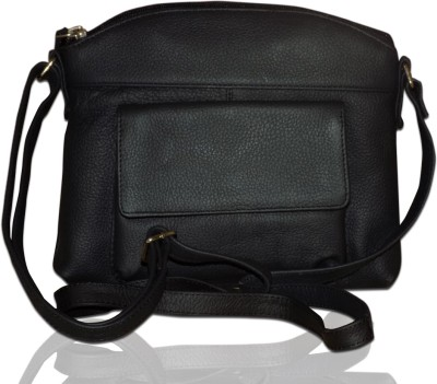 Style 98 Girls Black Genuine Leather Sling Bag
