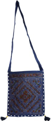 Rajkruti Women Multicolor, Blue Cotton Sling Bag