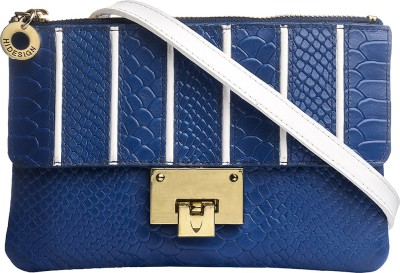 Hidesign Women Blue, White Genuine Leather Sling Bag