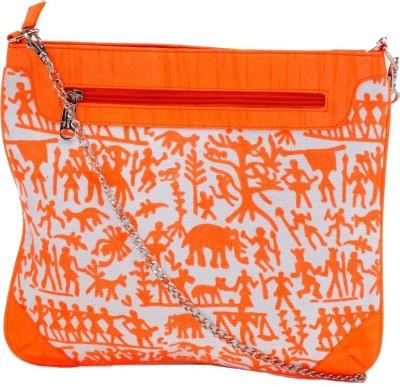 Stylocus Women Casual Orange Cotton Sling Bag