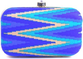 Hoppingstreet Women Blue Silk Clutch