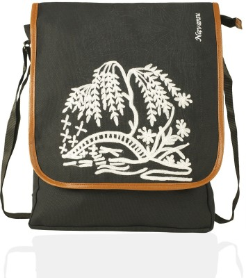 NAVANSU Girls Black, Multicolor Canvas Messenger Bag