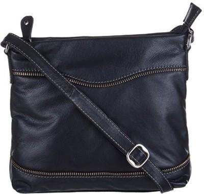 EUPHORIA Girls Black Genuine Leather, Nylon Sling Bag