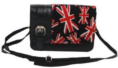 Kuero Women Black, Red Leatherette Sling Bag