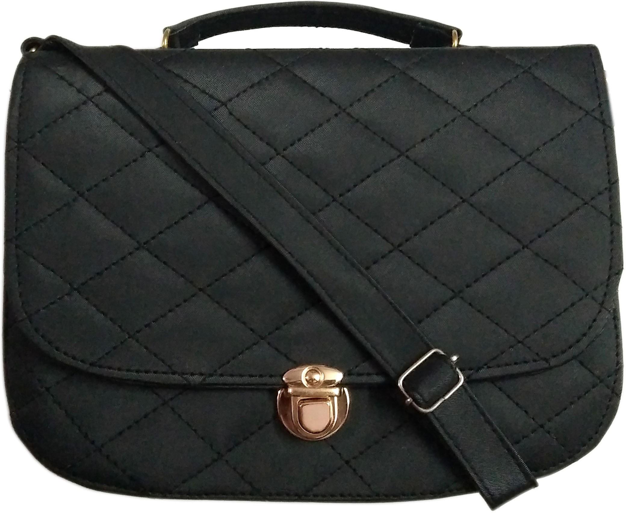 Sling bag below 500 - Madash Girls Black Leatherette Sling Bag