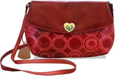 Arpera Women Casual Red Genuine Leather Sling Bag