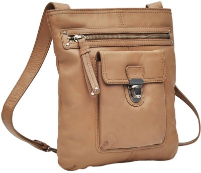 Hawai Women Casual Beige Genuine Leather Sling Bag