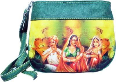 Manera Girls Casual Green Rexine Sling Bag
