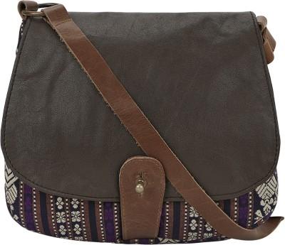 Nandeetas Women Purple, Brown Genuine Leather, Brocade Sling Bag