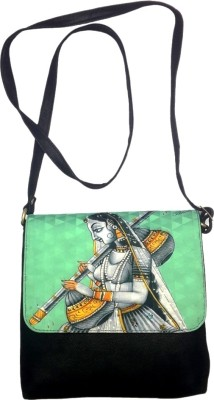 Bhamini Women Casual Black Cotton Sling Bag