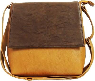 Kion Style Girls, Women Beige, Brown Leatherette Sling Bag