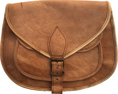 Rstore Girls, Women Brown Genuine Leather Sling Bag
