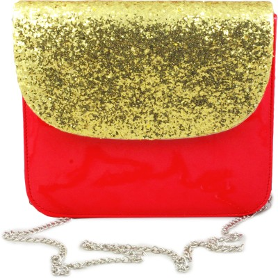 Felicita Women Casual Gold, Red PU Sling Bag