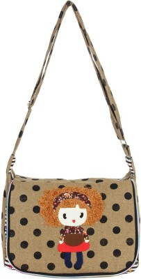 Anakar Women Beige Canvas Sling Bag