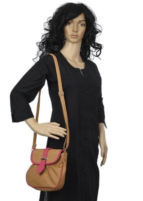 Diamonds World Women Beige Genuine Leather Sling Bag