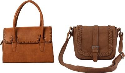 Lychee Bags Women Brown, Beige PU Satchel