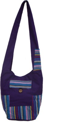 The Living Craft Women Purple Canvas Sling Bag