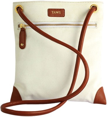 Taws Women Formal White Canvas Sling Bag