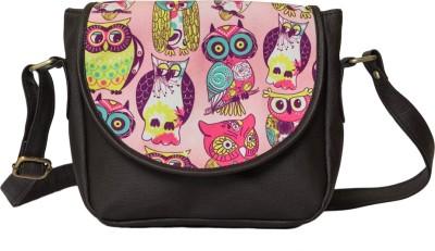 Bandbox Women Casual Pink, Brown PU, Canvas Sling Bag