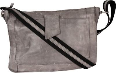 Hibiscus Men, Women, Boys, Girls Casual Grey Genuine Leather Sling Bag