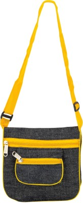 Glitters Girls Casual, Formal Black, Yellow Canvas Sling Bag