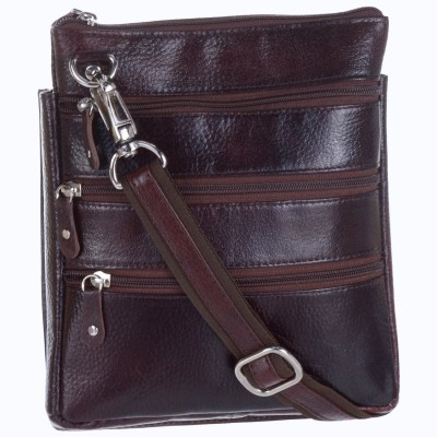 Bluwhale Men, Women Casual, Formal, Evening/Party Brown Genuine Leather Sling Bag