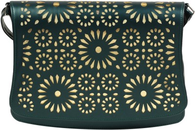 Colors Inc. Women Green Leatherette Sling Bag