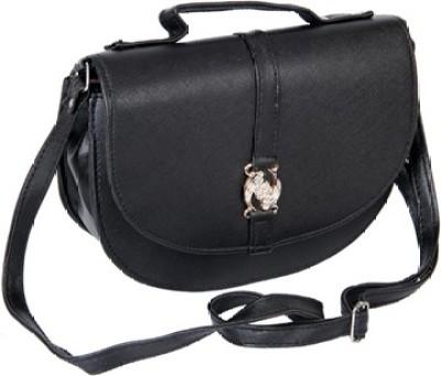 Kuero Black Leatherette Sling Bag