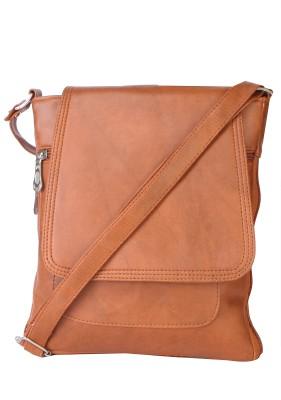 SkyWays Men, Boys, Girls, Women Tan Leatherette Sling Bag