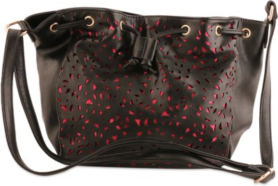 Addons Women Casual Black PU Sling Bag