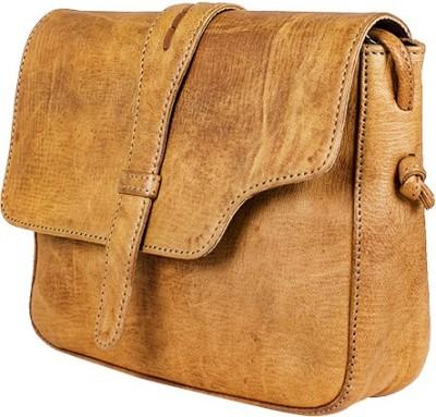 Goatter Girls, Women Tan, Brown Genuine Leather Sling Bag