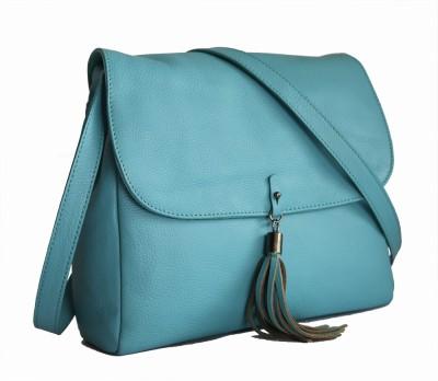 Gripp Women, Girls Blue Genuine Leather Sling Bag