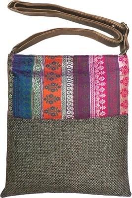 Bhamini Women Grey Jute Sling Bag