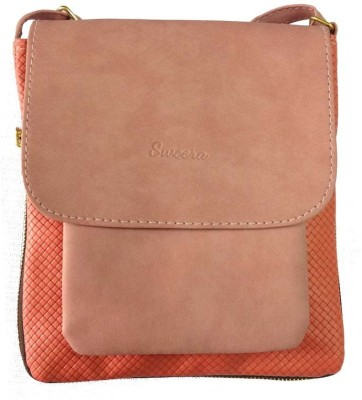 Sweera Women Pink PU Sling Bag