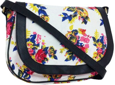 Carry on Bags Girls Casual White, Black Canvas, PU Sling Bag
