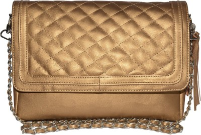 Famous by Payal Kapoor Women Gold Leatherette Sling Bag