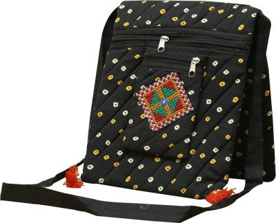 SAANKHYA Girls, Women Black Cotton Sling Bag