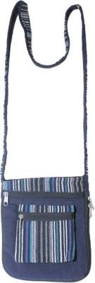 HR Handicrafts Girls Blue Canvas Sling Bag