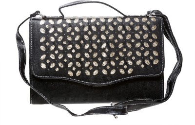 Tripssy Women Black Leatherette Sling Bag